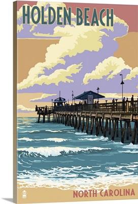 Holden Beach, North Carolina - Fishing Pier: Retro Travel Poster