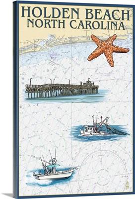 Holden Beach, North Carolina - Nautical Chart: Retro Travel Poster