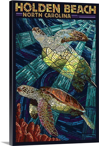 Holden Beach North Carolina Sea Turtle Paper Mosaic Retro Travel Poster