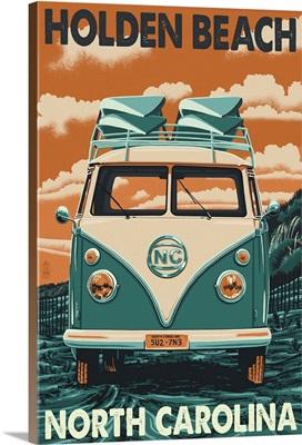 Holden Beach, North Carolina - VW Van Letterpress: Retro Travel Poster