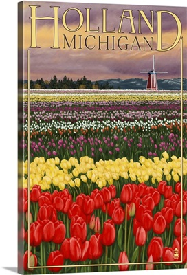 Holland, Michigan - Tulip Fields: Retro Travel Poster