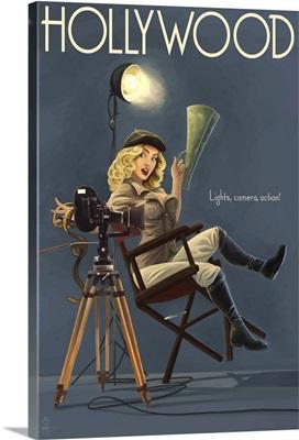 Hollywood, California - Directing Pinup Girl: Retro Travel Poster