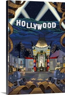 Hollywood, California Scenes: Retro Travel Poster