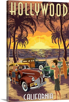 Hollywood, California - Woodies on the Beach: Retro Travel Poster