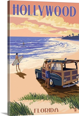Hollywood, Florida - Woody On The Beach: Retro Travel Poster