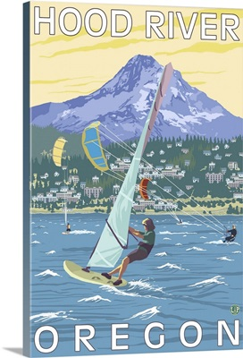 Hood River, OR - Wind Surfers and Kite Boarders: Retro Travel Poster
