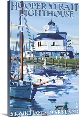 Hooper Strait Lighthouse - St. Michaels, MD: Retro Travel Poster