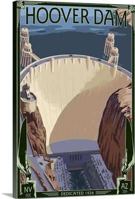 Hoover Dam Aerial: Retro Travel Poster