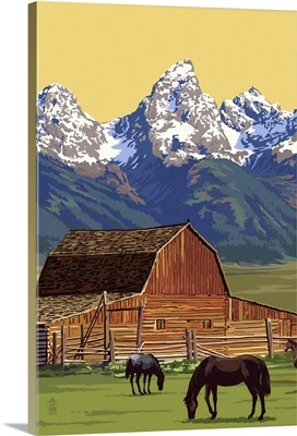 Horses and Barn with Mountains: Retro Poster Art