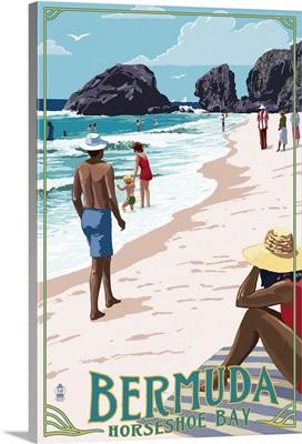 Horseshoe Bay Beach Scene - Bermuda: Retro Travel Poster