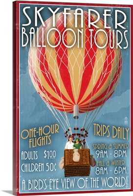 Hot Air Balloon Tours, Vintage Sign