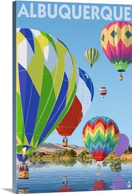 Hot Air Balloons - Albuquerque, New Mexico: Retro Travel Poster
