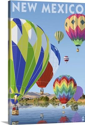Hot Air Balloons - New Mexico: Retro Travel Poster