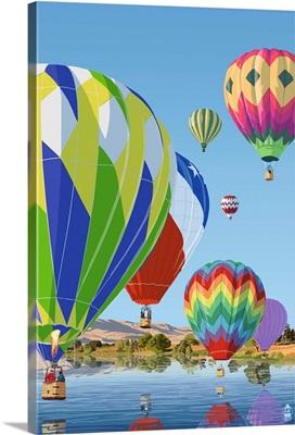 Hot Air Balloons: Retro Poster Art