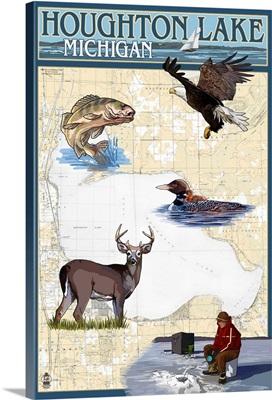 Houghton Lake, Michigan - Lake Chart: Retro Travel Poster