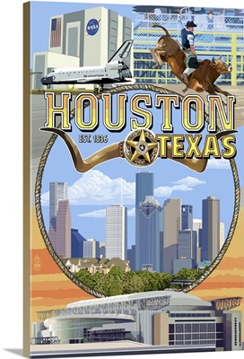 Houston, Texas - Montage Scenes: Retro Travel Poster