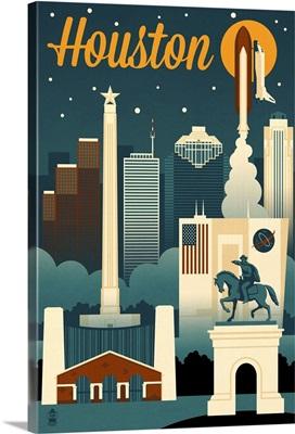 Houston, Texas, Retro Skyline