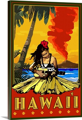 Hula Girl and Ukulele - Hawaii: Retro Travel Poster