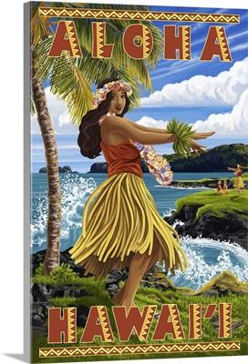 Hula Girl on Coast - Aloha Hawaii -  : Retro Travel Poster