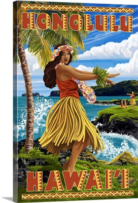 Hula Girl on Coast - Honolulu, Hawaii: Retro Travel Poster