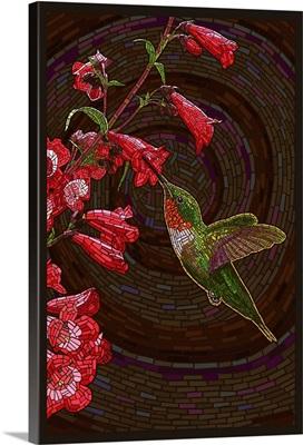 Hummingbird - Paper Mosaic: Retro Travel Poster