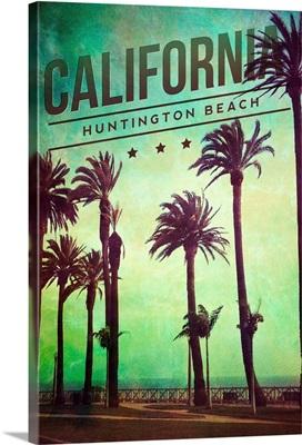 Huntington Beach, California, Boardwalk and Palms