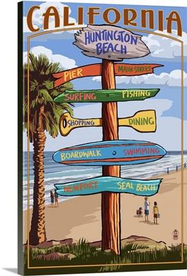 Huntington Beach, California - Destination Sign: Retro Travel Poster