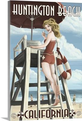 Huntington Beach, California - Lifeguard Pinup: Retro Travel Poster