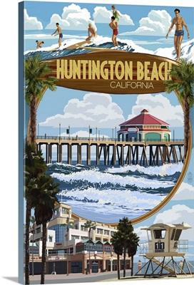Huntington Beach, California - Montage Scenes: Retro Travel Poster