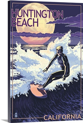 Huntington Beach, California - Night Surfer: Retro Travel Poster