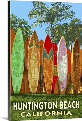 Huntington Beach, California - Surfboard Fence: Retro Travel Poster