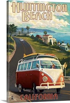 Huntington Beach, California - VW Van Cruise: Retro Travel Poster