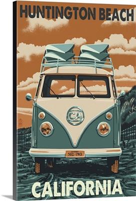 Huntington Beach, California - VW Van : Retro Travel Poster