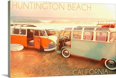 Huntington Beach, California, VW Vans on Beach