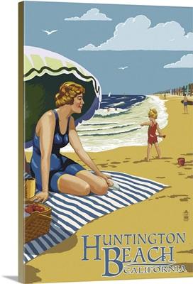Huntington Beach, California - Woman on Beach: Retro Travel Poster