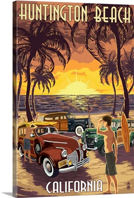Huntington Beach, California - Woodies and Sunset: Retro Travel Poster