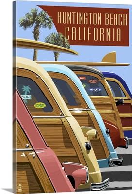 Huntington Beach, California - Woodies Lined Up: Retro Travel Poster