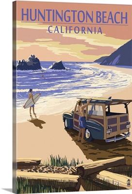 Huntington Beach, California - Woody on Beach: Retro Travel Poster