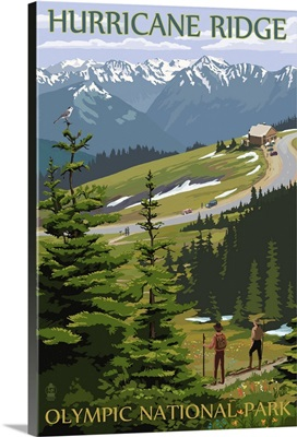 Hurricane Ridge, Olympic National Park, Washington: Retro Travel Poster