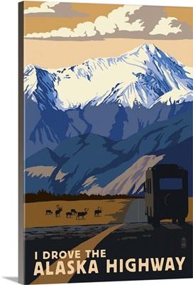 I drove the Alaska Highway: Retro Travel Poster