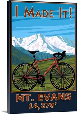 I Made It! Mt. Evans, Colorado Elv. 14,270: Retro Travel Poster