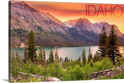 Idaho, Lake and Peaks at Sunset