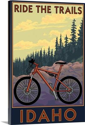 Idaho - Mountain Bike Scene: Retro Travel Poster