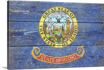 Idaho State Flag on Wood