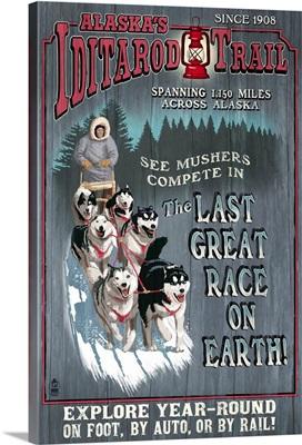 Iditarod Trail Vintage Sign - Alaska: Retro Travel Poster