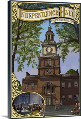 Independence Hall - Philadelphia, Pennsylvania: Retro Travel Poster