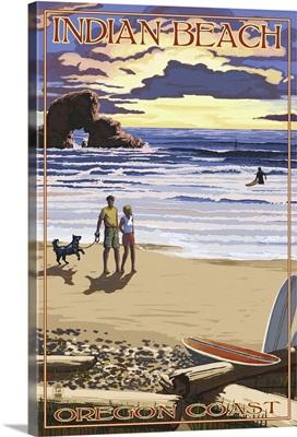 Indian Beach, Oregon Coast Scene: Retro Travel Poster