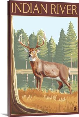 Indian River, Michigan - Deer Scene: Retro Travel Poster