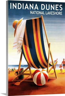 Indiana Dunes National Seashore, Indiana, Beach Chair and Ball