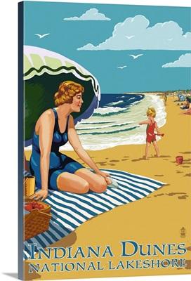 Indiana Dunes National Seashore, Indiana, Woman on Beach